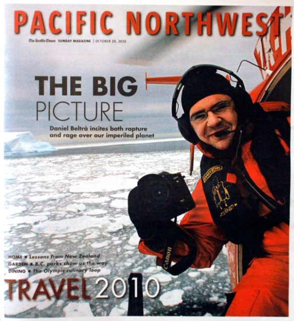 Cover of the Seattle Times Pacific Magazine, 10/24/10, featuring Daniel Beltra in a helicopter